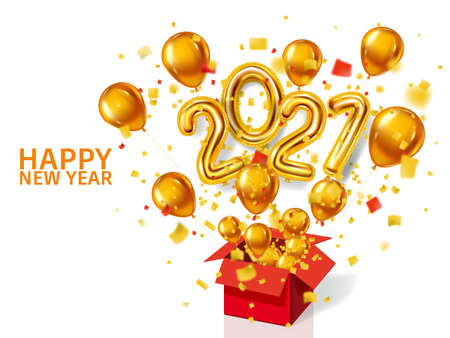 Happy New Year 2021 background. Gold realistic 3d balloons foil metallic numbers and helium balloons, gift box explosion of glitter gold confetti. Vector illustration celebrate festive party, poster, banner