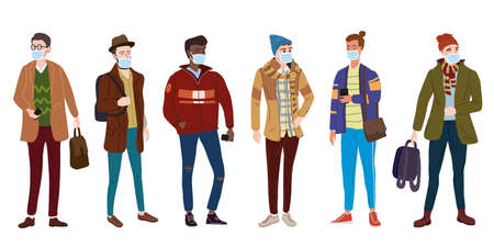 Crowd Young mans students in modern autumn trendy clothes. In medical mask, individual protection from viruses, smog, vapor. Fashion casual outerwear street style character. Flat cartoon style vector isolated