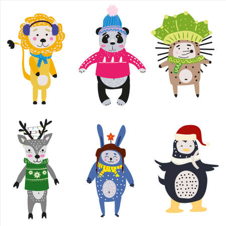 Christmas Animals set cute lion, panda, hedgehog, raccoon, deer, rabbit, penguin. Hand drawn collection characters illustration vector isolated