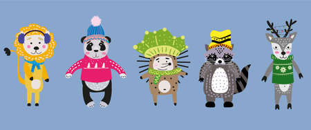 Christmas Animals set cute lion, panda, hedgehog, raccoon, deer with scarf, hat and sweater.. Hand drawn collection characters illustration vector isolated