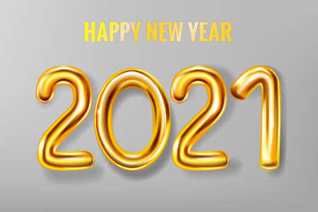 2021 Happy New Year background. Gold realistic 3d balloons foil metallic numbers. Vector illustration celebrate festive party, poster, banner, initation, layout design Illustration