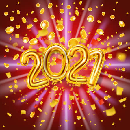 2021 Happy New Year decoration holiday background. Gold realistic 3d balloons foil metallic numbers explosion of glitter gold confetti coins. Vector illustration celebrate festive party, poster, banner Illustration