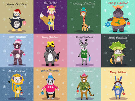 Christmas Animals Card Set cute hippo, fox, bear, cat, lion, panda, hedgehog, raccoon, deer, rabbit, penguin, giraffe. Hand drawn collection characters illustration vector isolated Illustration