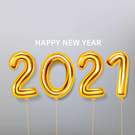 2021 Happy New Year with gold realistic balloons on grey Illustration