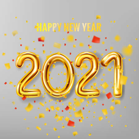 2021 Happy New Year decoration holiday background. Gold realistic 3d balloons foil metallic numbers explosion of glitter gold confetti. Vector illustration celebrate festive party, poster, banner Illustration