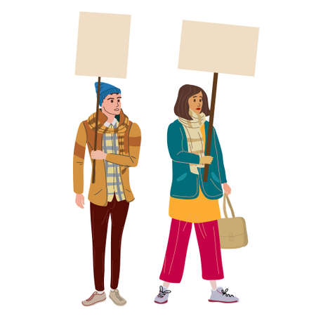 Couple Protesters man and woman holding empty banners. Activists protesting, political meeting, strike human rights. Vector illustration isolated