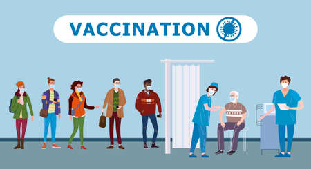 Vaccination people for immunity health. Doctor and nurse makes injection of of flu vaccine in hospital.