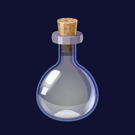 Bottle empty game icon GUI. Vector illustration for app games user interface isolated cartoon style