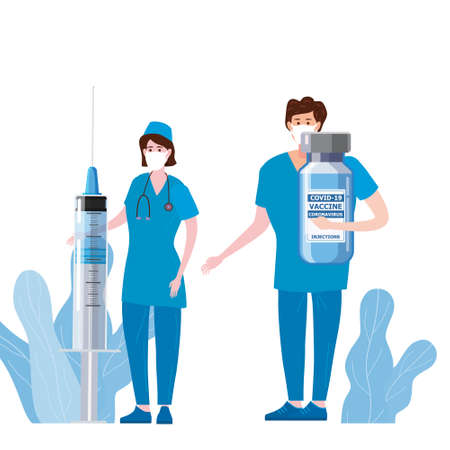 Time To Vaccination for immunity health, doctor and nurse, syringe and bottle, vaccine of of flu. Healthcare preventation and immunize. Vector illustration isolated