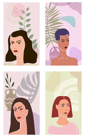 Various Woman portraits minimal abstract contemporary style. Female faces flora leaves shapes vase silhouette