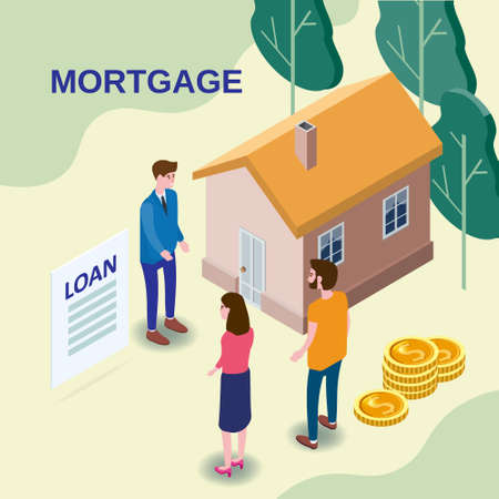 House Mortgage Concept, characters couple buying estate invest money, realtor agent estate offer mortgage money credit. Isometric vector flat illustration banner
