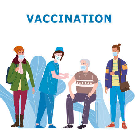 Vaccination people for immunity health. Doctor and nurse makes injection of of flu vaccine in hospital. Healthcare preventation and immunize. Vector illustration isolated