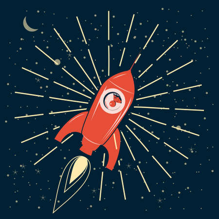 Rocket in outer space. Retro vintage, astronaut in spacecraft. Vector illustration