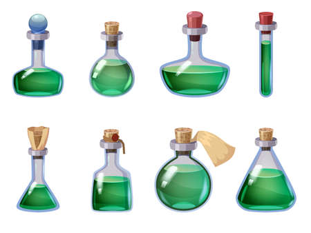 Set of Bottles magic liquid potion fantasy elixir. Game icon GUI for app games user interface. Vector illstration isolated cartoon style on white background