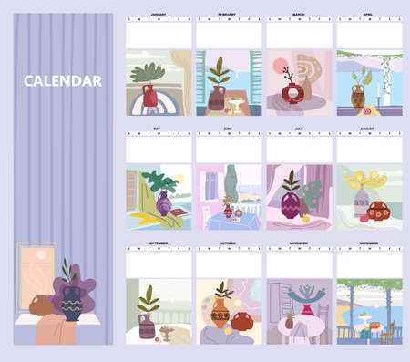 Calendar mounthly Still life abstract contemorary minimalism. Collection Vase flora intreior abstract elements shapes. Modern poster, banner, cover, social media content. Vector isolated