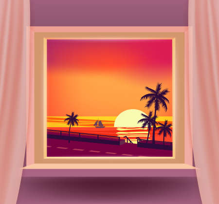 Open window interior home with a sunset sea ocean landscape, seascape view nature, palms, tropical, road. Tropic summer landscape from view the window with curtains. Vector illustration