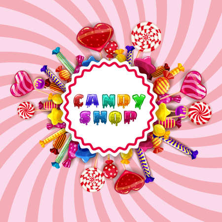 Template background with colorful sweets lollipops, caramel, hearts, spirals. Vector illustration 矢量图像
