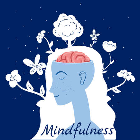 Mindfulness concept Woman in meditation. Open brain mental calm mind, releasing stress. Vector illustration isolated 矢量图像