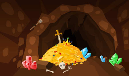 Treasure cave, gold pile, coins, gems, crown, sword, crystals. Concept art for game, apps. Background cartoon style 矢量图像