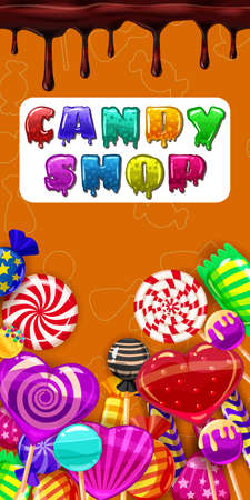 Candy Shop, sweet different bonbon, lollipops,chocolate, jelly. Template menu for caffe, cafeteris, vector illustration, cartoon style