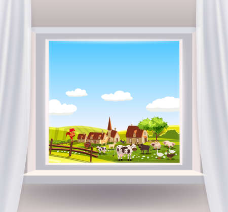 Open window interior home with a rural landscape view nature. Country spring summer landscape from view the window of houses farm, animals, green meadow fields panorama. Vector illustration