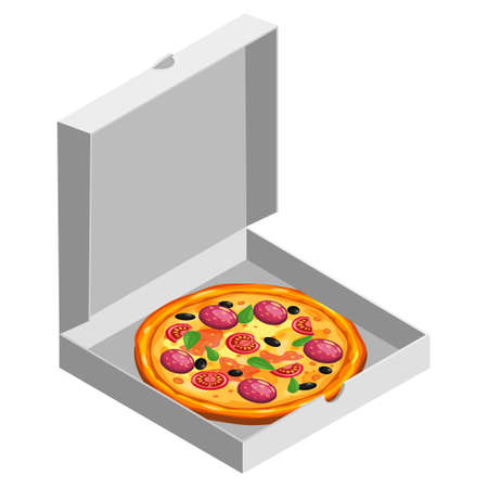 Pizza isometric in open white cardboard box. Package template, delivery, flat design. Vector