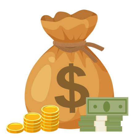 Bag full money with dollar sign, gold coins, paper money. Cartoon style vector illustration 矢量图像