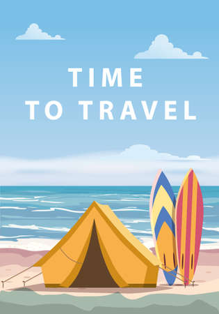 Time to travel. Tourist tent camping on the tropical beach, surfboards, palms. Summer vacation coastline beach sea, ocean, surfing, travel, sunset