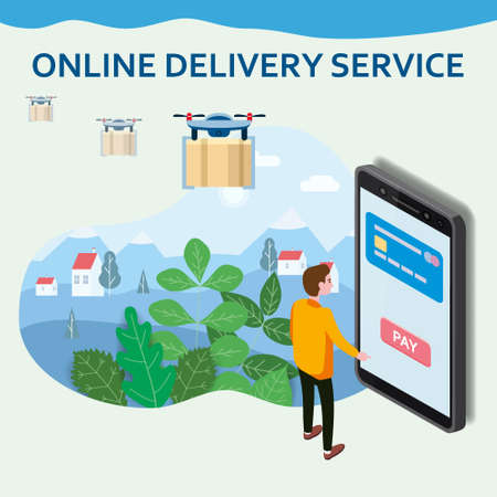 Online Delivery Service drons template. Man buyer smartphone, shipping, delivery. E-commerce concept. Online goods order. Isolated vector 矢量图像