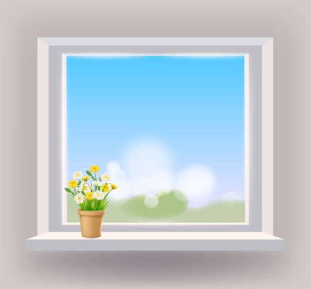 Window in interior, view on landscape, spring, flower pot with flowers daisy and dandelions on windowsill, curtains. Vector illustration template realistic 矢量图像