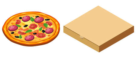 Pizza and box cardboard package closed, isometric. Package template, delivery, flat design. Vector