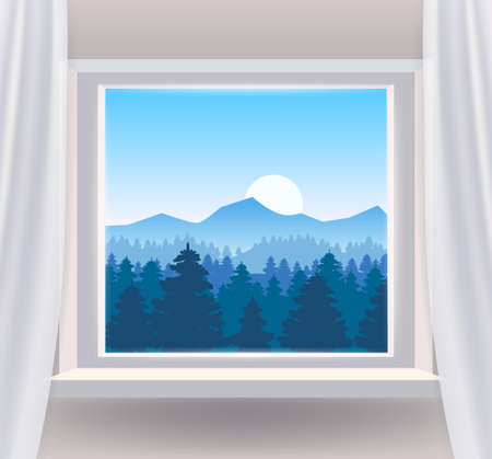 Open window interior home with a forest landscape view nature. Country mountains landscape from view the window of trees panorama. Vector illustration 矢量图像