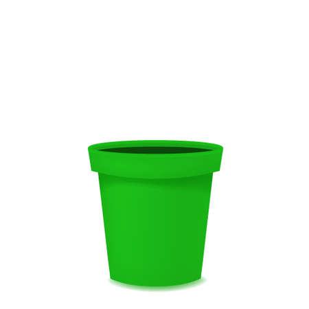 Flower pot realistic empty green ceramic or plastic. Vector template