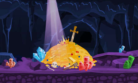 Concept Treasure cave, gold pile, coins, gems, crown, sword, crystals. Banner art for game, apps medieval fairytale. Background cartoon style