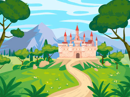 Fantasy landscape with Castle medieval Kingdom rural countryside. Fairytale background mountaines, trees, flora, field road to palace. Vector illustration