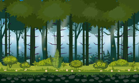 Forest landscape horizontal seamless background for games apps, design. Nature woods, trees, bushes, flora, vector