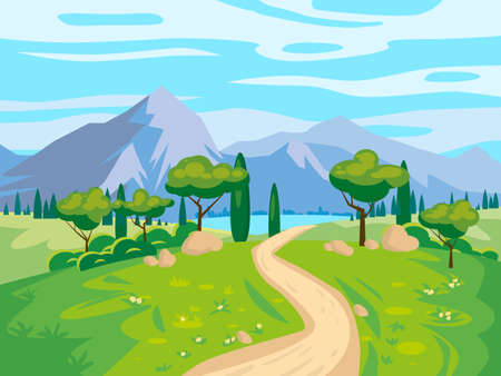 Landscape scenery view, road to mountaines, green meadow, flowers, trees. Rural nature, travel through countryside. Vector illustration