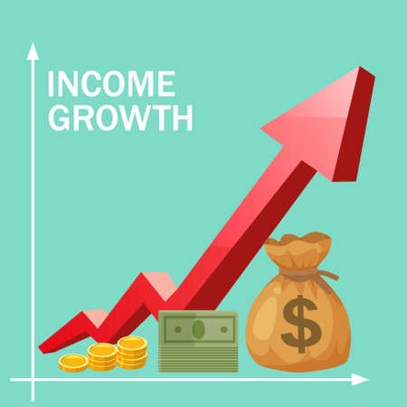 Increase Income Financial Revenue, Income growth money rate rising up. Arrow up, Money coins gold bag coins fund, concept of business, economic, capital earnings success. Vector