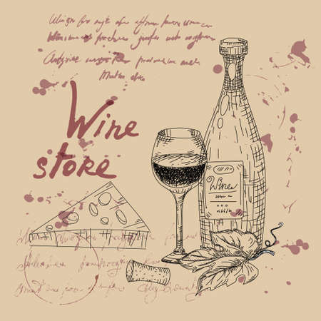 Wine store products hand drawn scetch. Grapes, wooden barrel, bottles,chees, glass, vintage style unreadable text. Vector illustration 矢量图像
