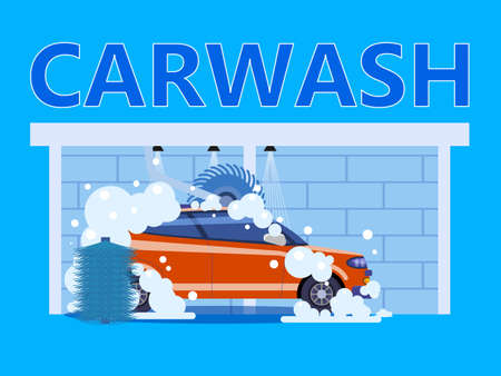 Car Washing Auto center station. Service washing, clean car, foam bubbles. Vector illustration isolated