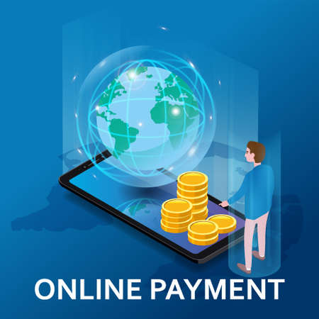 Online payment, internet money tansfer. Man buyer, smartphone, stacks coins, planet Earth isometric. Concept mobile Ecommerce, shopping online illustration