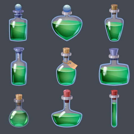 Set of magic Bottles liquid potion fantasy elixir. Game icon GUI for app games user interface. Vector illstration isolated cartoon style on grey background