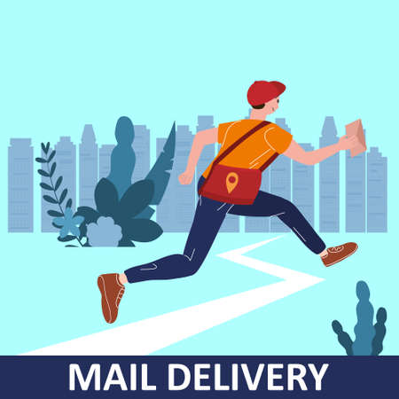 Mail delivery Postman running with bag delivering letter in envelope. Mailman in cap carrying mail, delivery service. Vector illustration