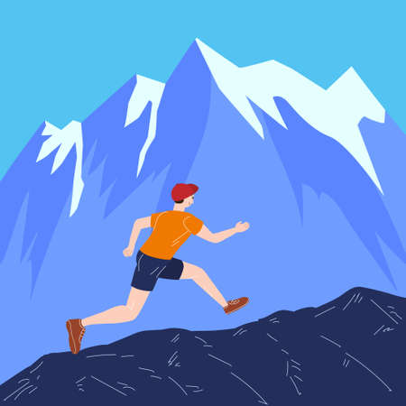 Mountain Trail Running Man in wild nature. Runner in landscape hills, running to win. Vector