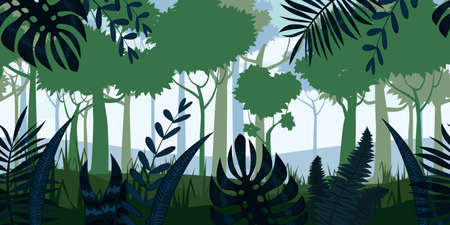 Jungle Tropical Forest landscape horizontal seamless background for games apps, design. Nature leaves, woods, trees, bushes, flora, vector
