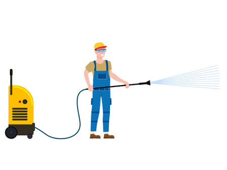 Car Wash worker with equipment. Auto Service man worker washing, clean car. Vector illustration isolated