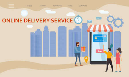 Online Delivery Service template. Man and woman buyers, smartphone, shipping, delivery. E-commerce concept. Online goods order. Isolated vector 矢量图像
