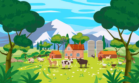 Rural Landscape farm scenery view, mountaines, green meadow, flowers, trees. Countryside nature, farm animals cow, sheeps, horse, bull, goose, duck, goat, buildings. Vector illustration