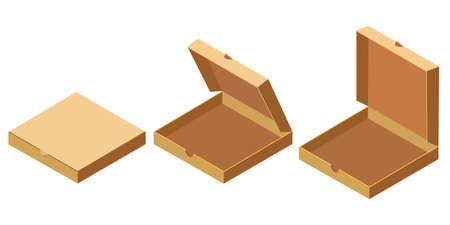 Pizza isometric open, closed cardboard boxes set, delivery. Package template, flat design. Vector
