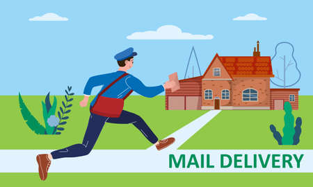 Postman running with bag delivering letter in envelope for house to address. Mailman in uniform carrying mail, delivery service. Vector illustration 矢量图像